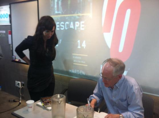 "Getting my ""Escape from Camp 14"" book signed by Blaine Harden at the 10 Magazine Book Club"