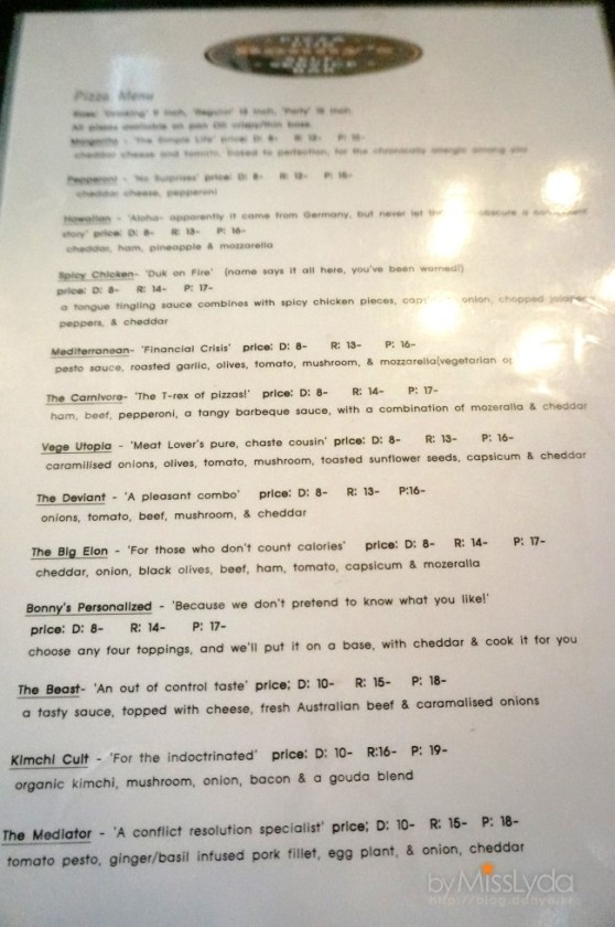 Pizza Menu (Photo: MissLeeDa - Naver Blog)