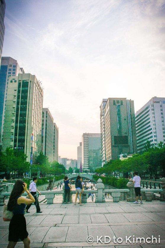 Staring down Cheonggyecheon stream near the KTO HQ