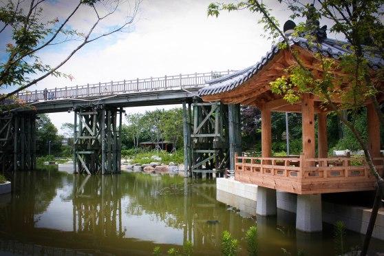 Little pond beneath the symbolic bridge between North and South Korea
