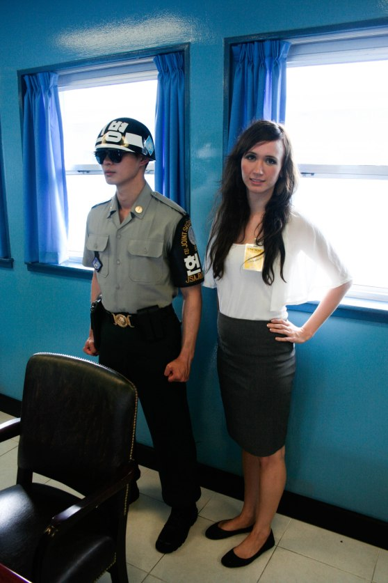 Standing with a South Korean guard