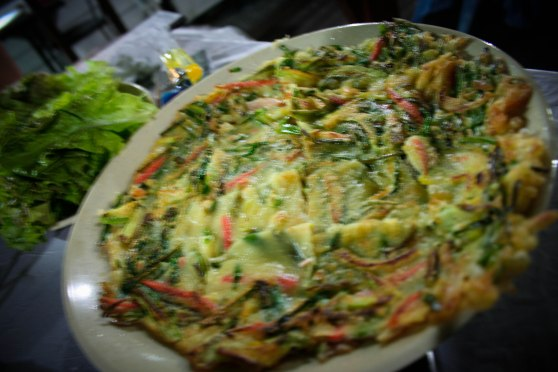 Focus is off :( But the haemul pajeon (seafood pancake) was pretty good!