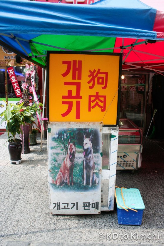 Dog meat (the sign was covering up the meat in the display case)