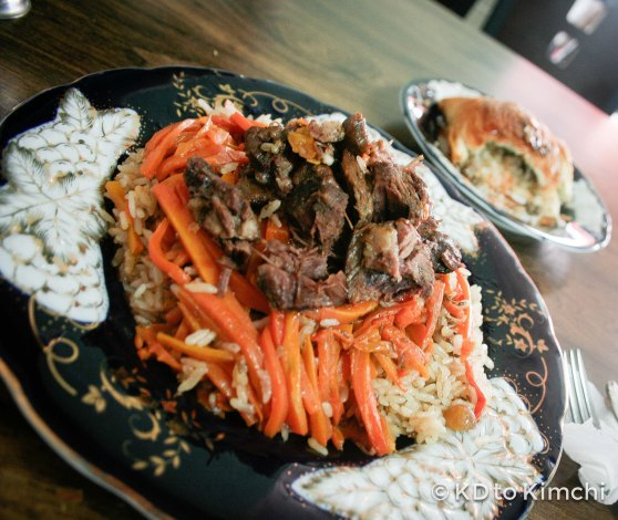 So much meat! The plov was very heavy and filling. A bargain for $7.