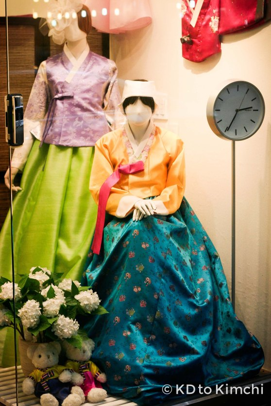 A hanbok store's front display