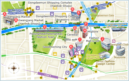 A map of Seoul's Jongno and Dongdaemun areas - Gwangjang Market is in the top-left corner (Photo: Visit Seoul)