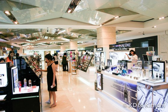 Various international and Korean-brand cosmetics on the first floor