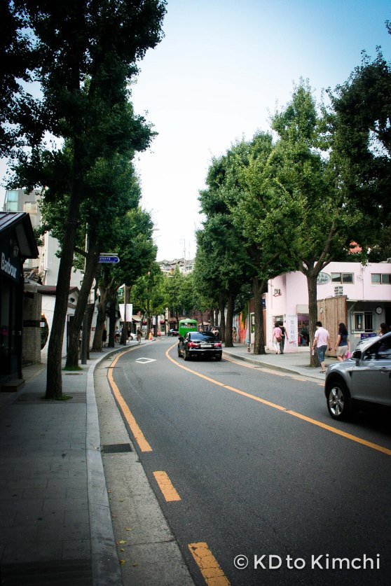 The tree-lined street of Samcheong-dong